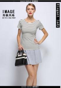 OEM Knit 100% Cotton Stripe Women T Shirt pictures & photos