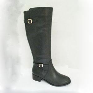 PU Metal Trim Flat Lady Long Boot