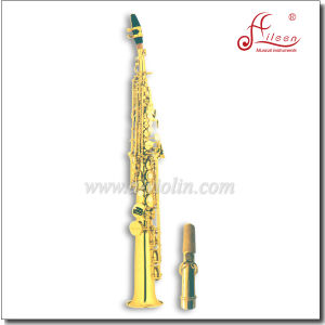 High F # Bb Key Gold Lacquer Straight Soprano Saxophone pictures & photos