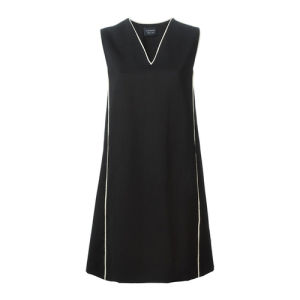 Ladies V-Neck, Sleeveless, Contrast Piping, Leisure Dress with Tassel Trim