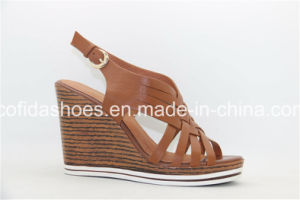 Fashion High Heel Wedges Leather Lady Shoes pictures & photos