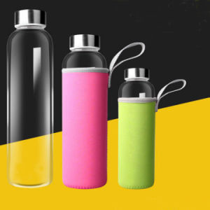 Beautiful Flower Design Glass Water Bottle with Rope Gift Cup Sport Glass Bottle pictures & photos