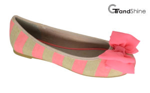 Women′s Stripe Printed Canvas with Bow Flat Ballet Shoes pictures & photos