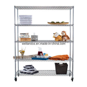 Convenient 5 Tier Commercial Chrome Steel Wire Shelving Rack pictures & photos