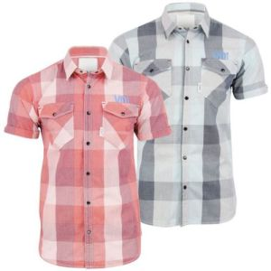 Mens Striped Casual Short Sleeve Slim Stylish Dress Shirts (A441)