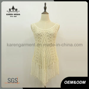 Lady′s Sleeveless Long Fringe Crochet Beachwear pictures & photos