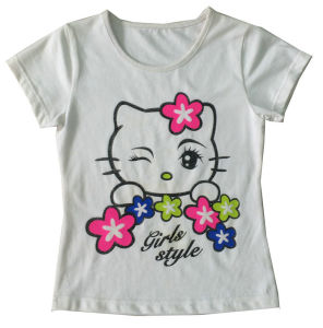 High Quality Fashion Cat Girl Kids T-Shirt Wholesale Sgt-018 pictures & photos