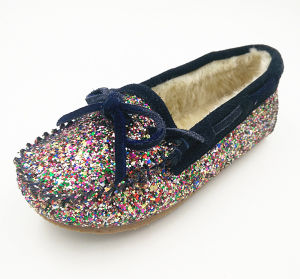 Girls Glitter PU and Faux Fur Indoor Slipper pictures & photos
