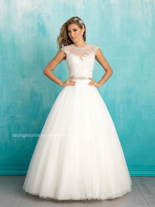 Jewel Neck Tulle Bridal Ball Gown Cap Sleeve Wedding Dress pictures & photos