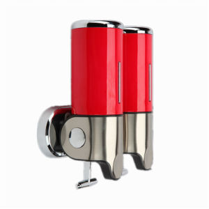 Red 500ml*2 Stainless Steel+ABS Plastic Wall-Mountained Liquid Soap Dispenser pictures & photos