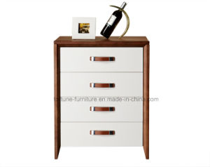 Modern Wooden Walnut and White Color Chest of 4 Drawers (Camel 202)