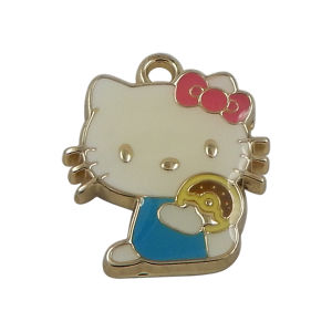 Customized Metal Kitty Cat Charms with Crystal pictures & photos