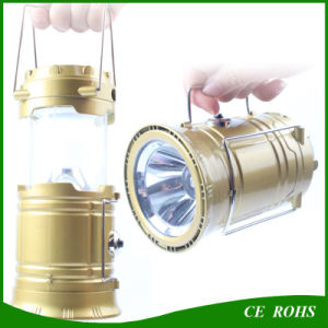 Foldable Solar Camping Torch Emergency Light Rechargeable Solar Lantern with USB Output Function pictures & photos