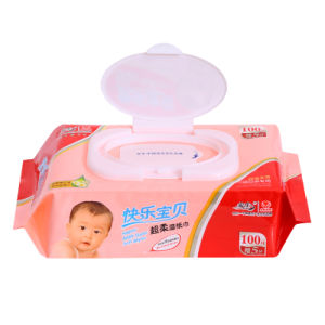 100 PCS Cotton Non-Woven Sensitive Antibacterial Baby Wet Wipe pictures & photos