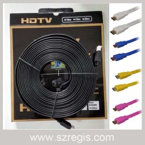 Colorful Large Screen Display Flat Gold-Plated Data Coaxial HDMI Cable pictures & photos