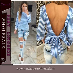 New Design Fashion Women Low Back Top Shirt (TGLDS0971) pictures & photos