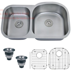 "34 ""X 20-1/2"" Stainless Steel Under Mount Double Bowl Kitchen Sink with Cupc Approved pictures & photos"