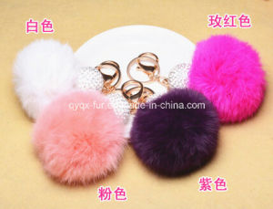 Genuine Cute Colorful 8cm Rabbit Fur POM POM Balls Keychain pictures & photos