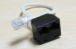RJ45 Splitter 1 Male to 2 Female Sockets Adaptor Splitter Switch Poe Kit Cat5e Network Cable pictures & photos