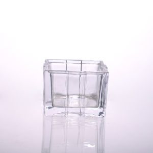High Quality Square Clear Glass Candle Holder pictures & photos