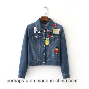 High End Embroidery Short Jacket Slim Washed Denim Coat pictures & photos