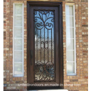 Factory Direct Square Top Wrought Iron Single Entry Door (UID-S003) pictures & photos
