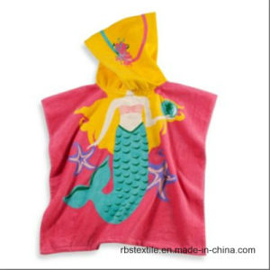 Girl′s Cotton Printed Bath Towel Beach Poncho with High Quality pictures & photos