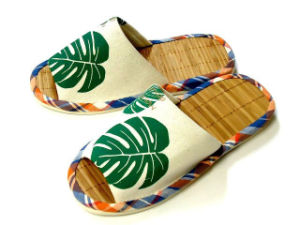 Bamboo Sole Slipper / Print Canvas Slipper /Open Toe Slipper for Hi-Q Hotel pictures & photos