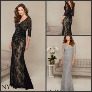 3/4 Sleeve Lace Mother′s Formal Gown Silver Black Evening Dresses M71313 pictures & photos