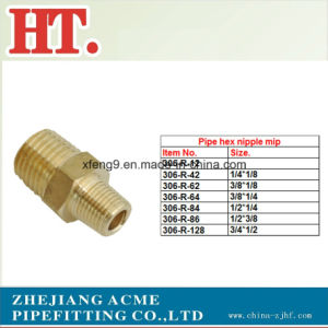 Brass NPT Male Pipe Hex Nipple Pipe Fitting pictures & photos