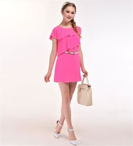 Women′s Sweet Lotus Leaf Collar Chiffon Dress with Belt pictures & photos
