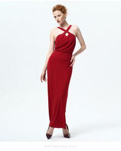 Summer New Lady Sleeveless Halter Dress Sexy Halter Strap Female High Waist Thin Skirt Dress Factory pictures & photos