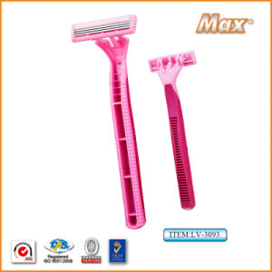 Platinum Coated Stainless Steel Three Blades Disposable Shaving Razor (LV-3093) pictures & photos
