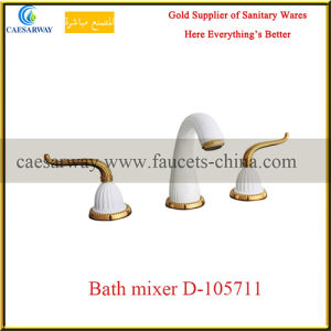 Sanitary Ware Golden Bathroom 3 Way Recessed Bathtub&Basin Mixer pictures & photos