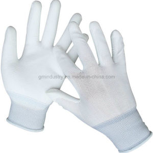 PU Coated Polyester Liner Safety Work Glove pictures & photos