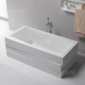 Artificial Stone Resin Solid Surface Bathroom Freestanding Soaking Bathtub pictures & photos