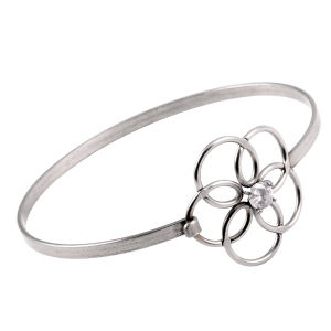 Hollow out Flower Crystal Cuff Bangle Simple Wire Wrap Bracelet pictures & photos