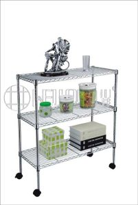 Mobile DIY 3 Tiers Chrome Wire Metal Shelf for Home Living Room Use pictures & photos