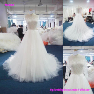 160610 China Factory Direct Lace Bodice A Line Wedding Dress with Transparent Lace Long Sleeves pictures & photos