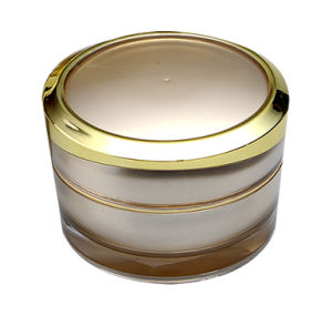 Cosmetic Packing Acrylic Cream Jar with Plated Cover pictures & photos
