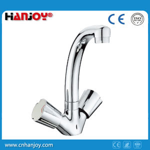 Deck Mounted Double Handle Brass Basin Faucet (H51-103) pictures & photos
