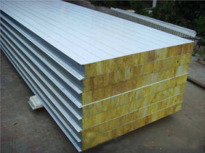 Color Galvanized Steel Rockwool Sandwich Panels for Building Materials pictures & photos