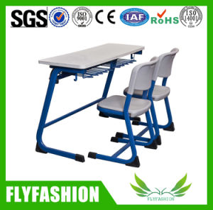School Classroom Double Table Height Adjustable Student Desk with Chair pictures & photos
