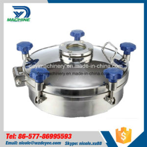 Sanitary Stainless Steel Polished Pressure Manhole Cover with Sight Glass (DY-M021) pictures & photos