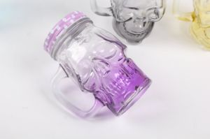 Skull Glass Drinking Handle Cup with Metal Lid pictures & photos