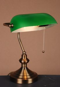 Antique Bankers Table Lamp with Green Glass Shade