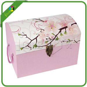 Baby Pink Suitcase Packaging Box with Metal Closure and Handle pictures & photos