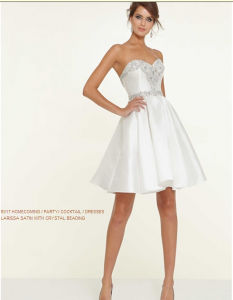 Satin Crystal Beading Cocktail Bridesmaid Prom Dresses (PD9317) pictures & photos