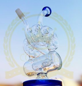 Simple Glass Water Pipe with Wheel Perc 2 Function Glass Pipe for Smoking pictures & photos