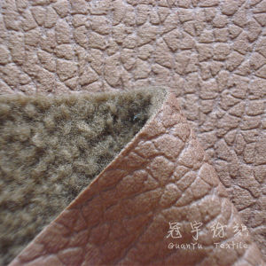 Embossed Leather Polyester Fabric with Fleece Backside pictures & photos